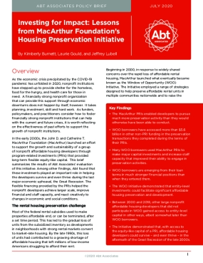 Investing for Impact: Lessons from MacArthur Foundation's Housing Preservation Initiative