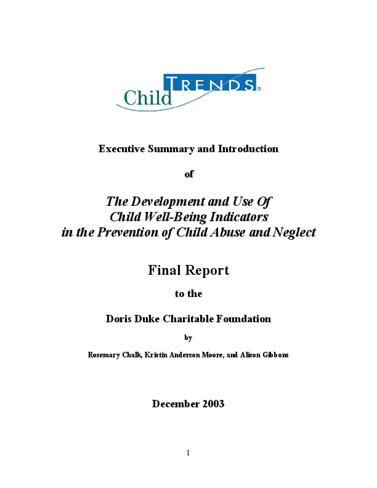 The Development and Use of Child Well-Being Indicators in the Prevention of Child Abuse and Neglect