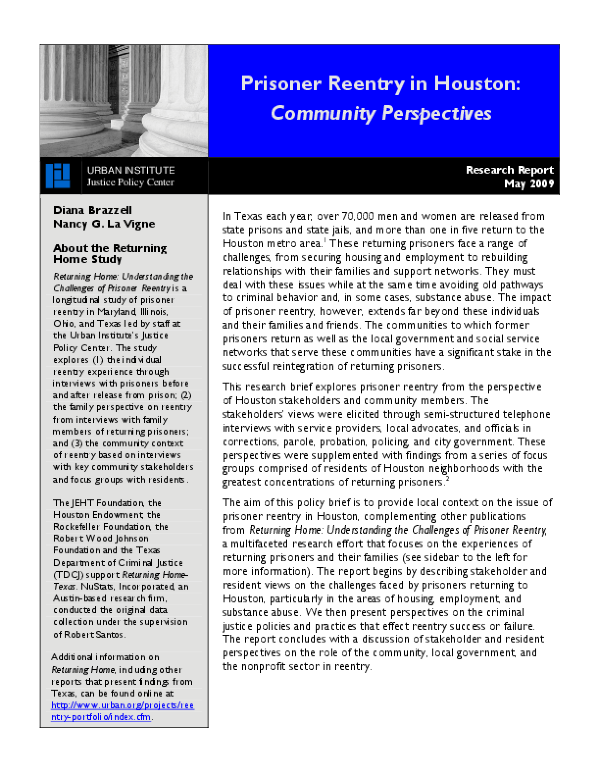 Prisoner Reentry in Houston: Community Perspectives