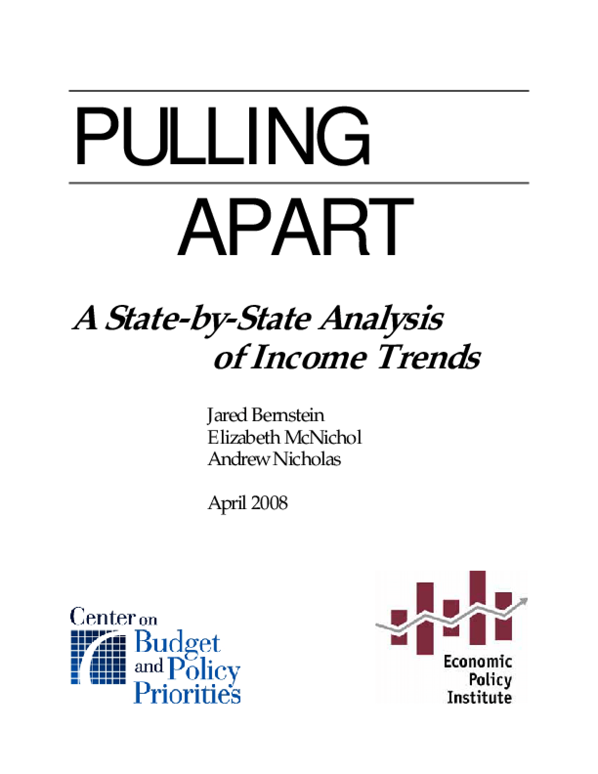 Pulling Apart: A State-by-State Analysis of Income Trends