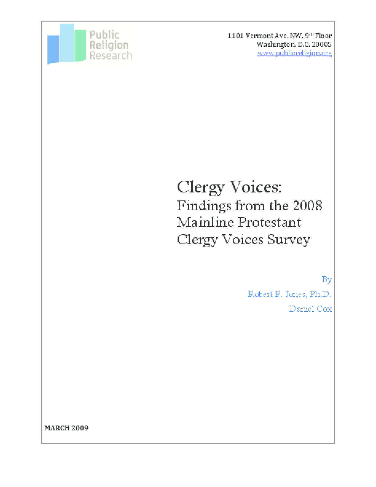 Clergy Voices: Findings From the 2008 Mainline Protestant Clergy Voices Survey