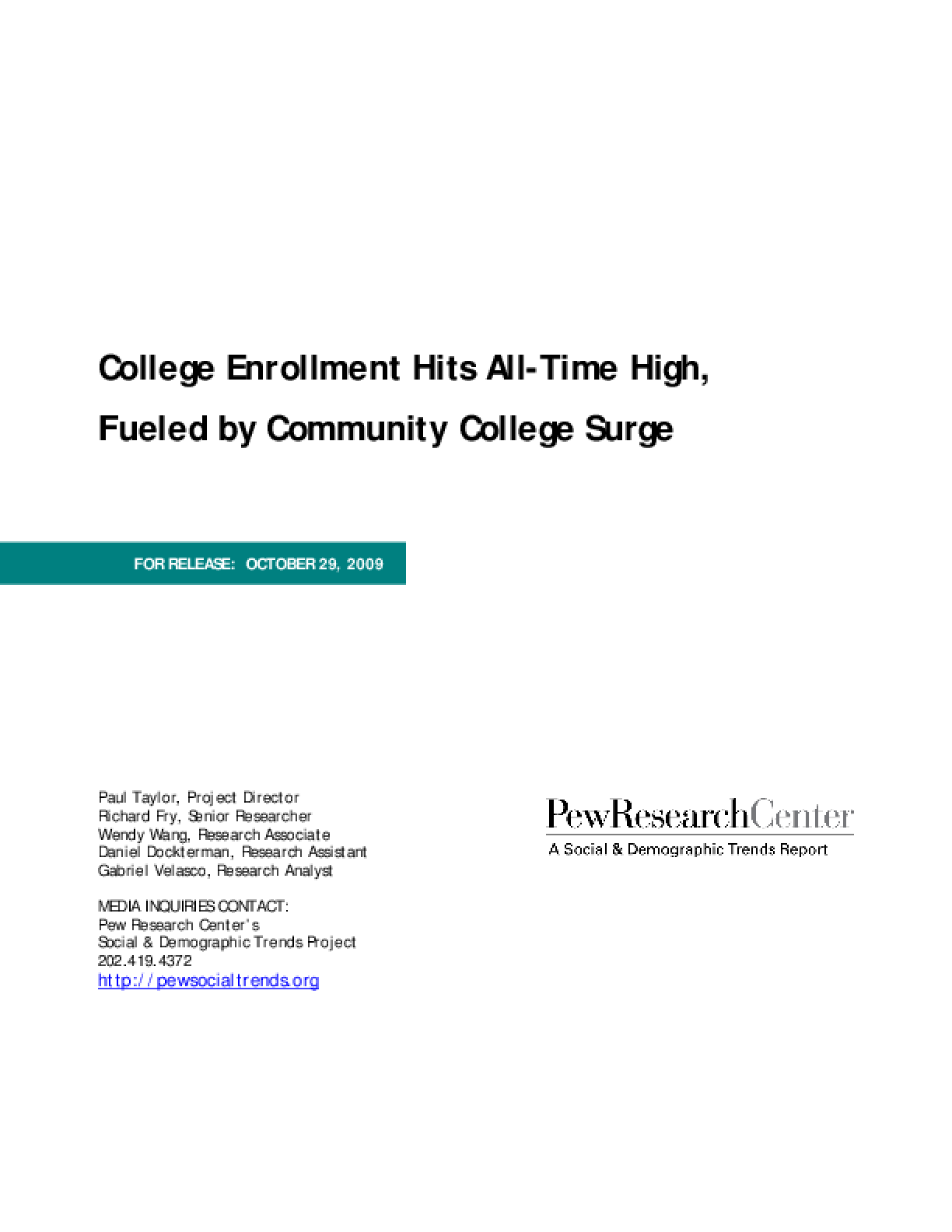 College Enrollment Hits All-Time High, Fueled by Community College Surge