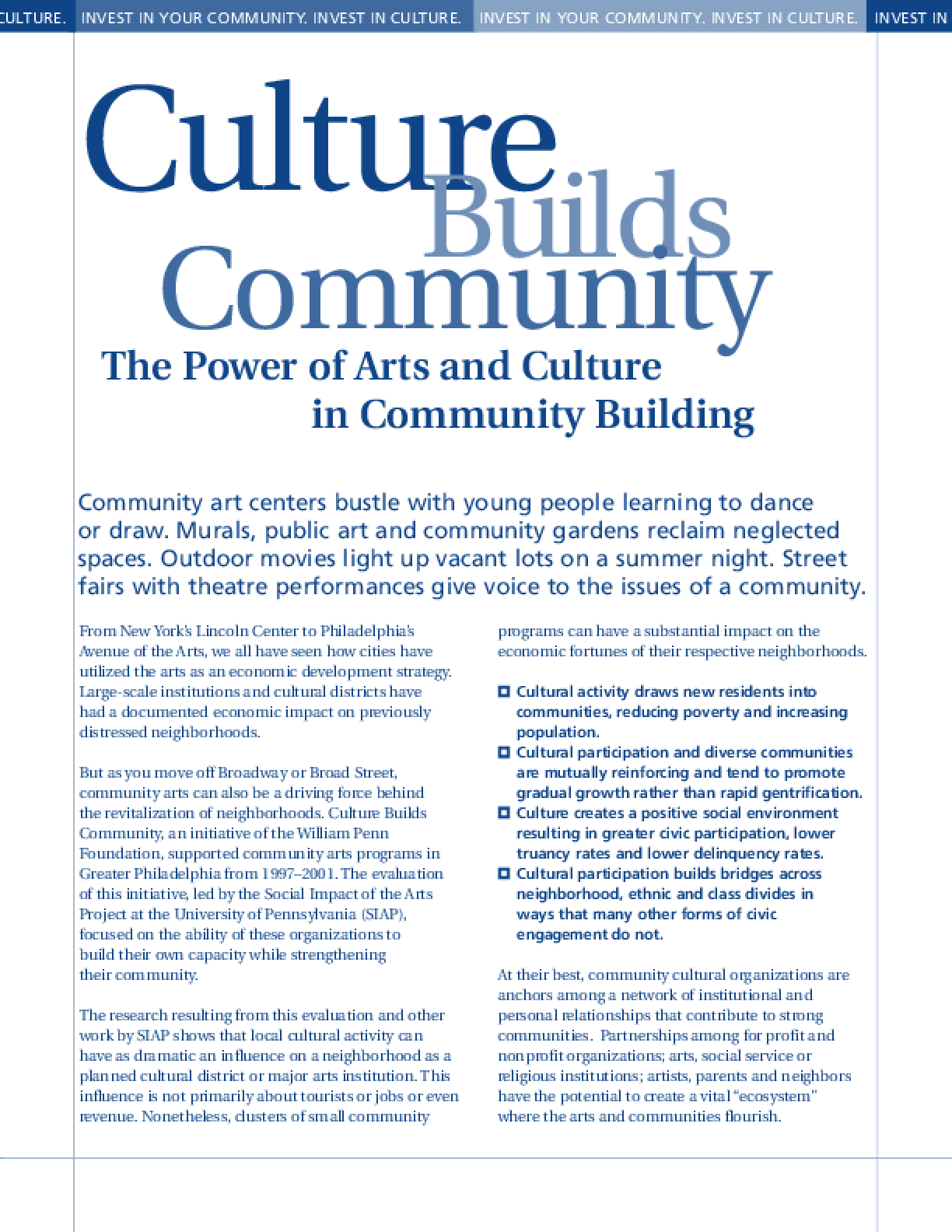 Culture Builds Communities: The Power of Arts and Culture in Community Building