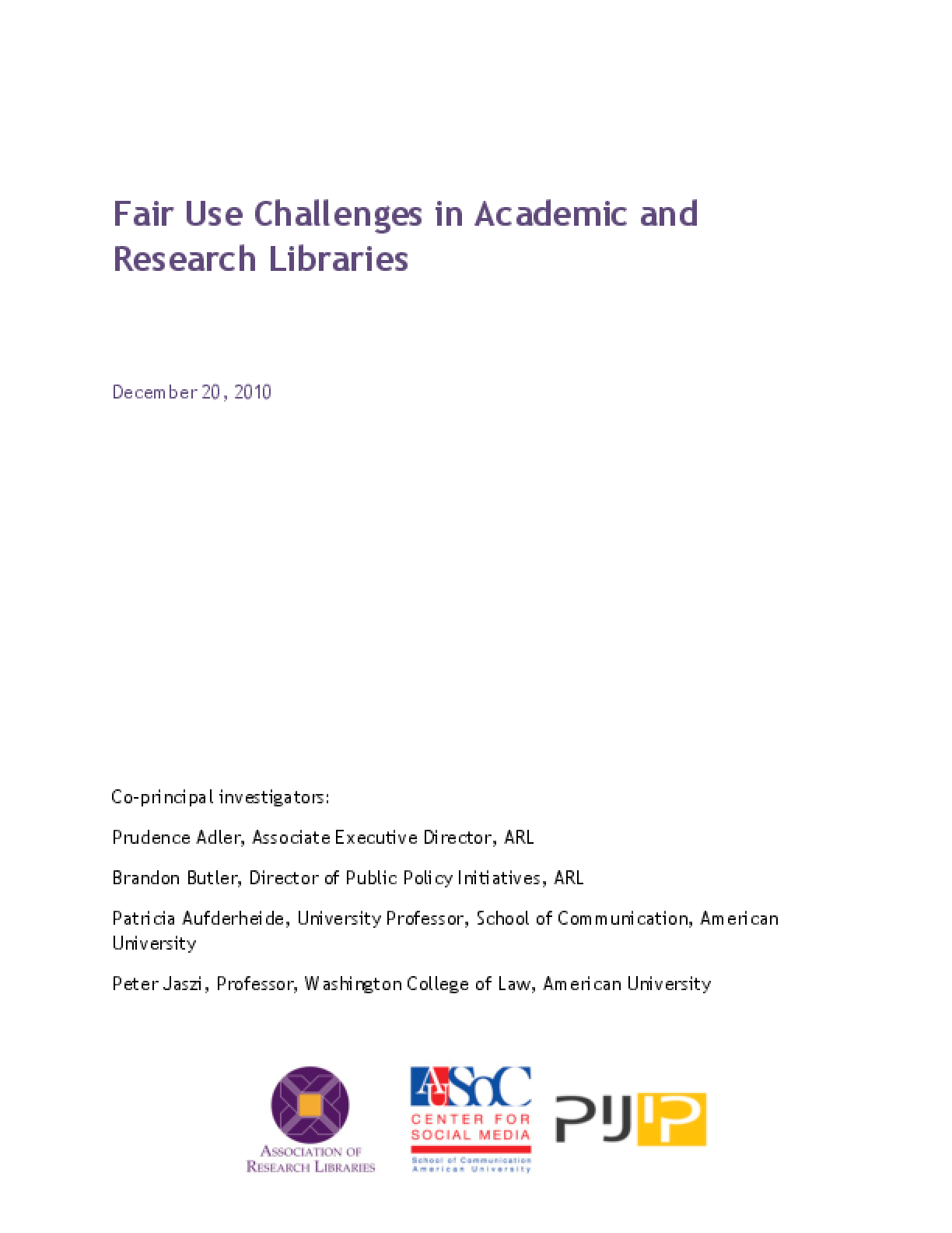 Fair Use Challenges in Academic and Research Libraries